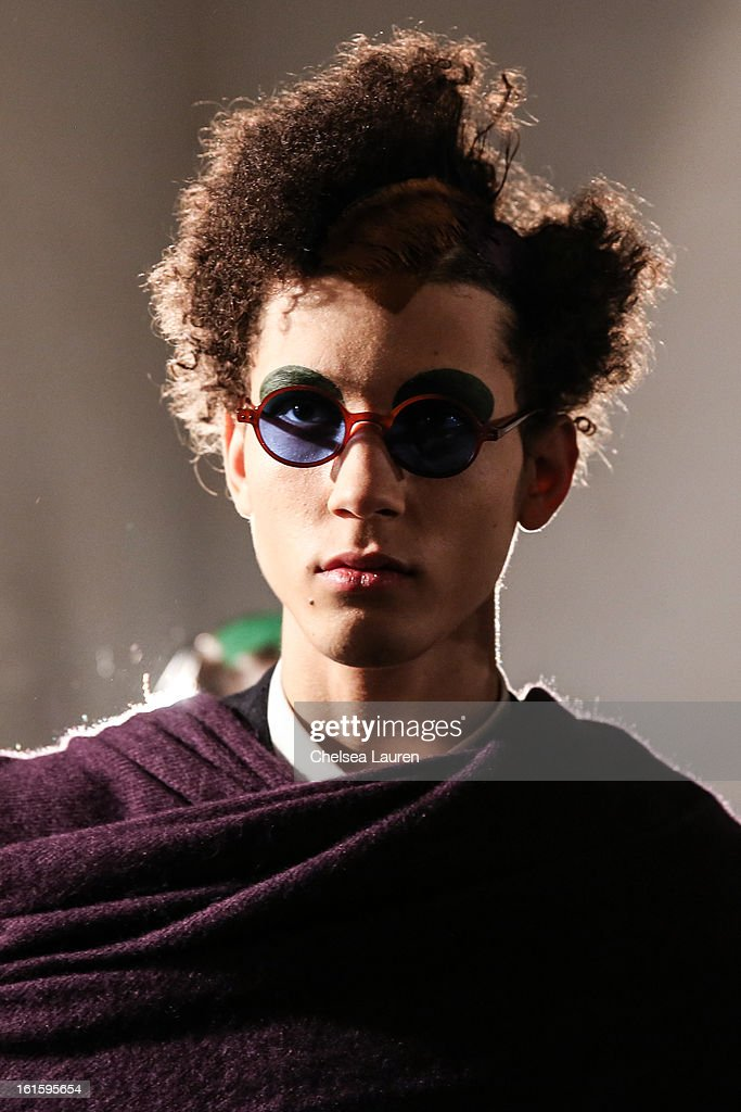 A model is seen backstage at the Siki Im Fall 2013 fashion show during Mercedes-Benz Fashion Week at Cafe Rouge on February 12, 2013 in New York City.