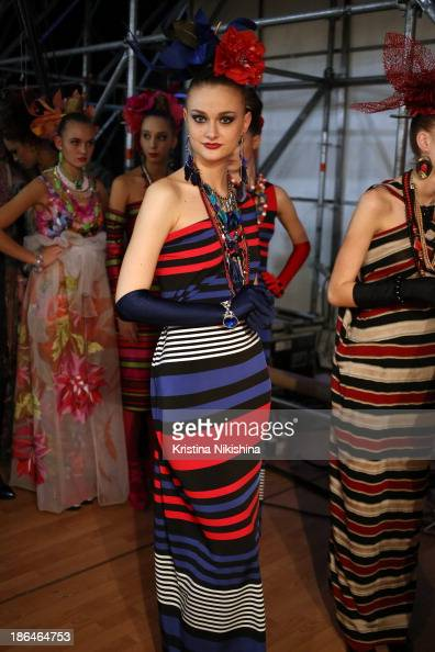A model is seen backstage at the SLAVA ZAITSEV Haute Couture show during MercedesBenz Fashion Week Russia S/S 2014 on October 31 2013 in Moscow Russia