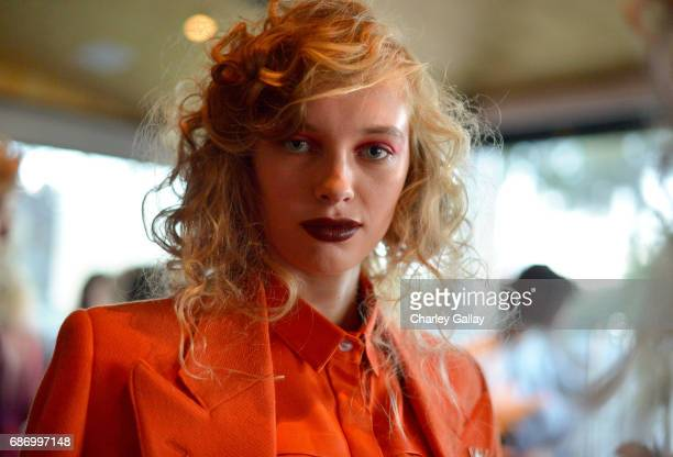 A model is seen backstage at the Wolk Morais Collection 5 Fashion Show at Yamashiro on May 22 2017 in Los Angeles California