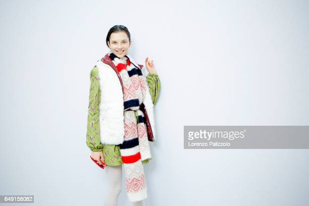 A model is seen backstage before the Moncler Gamme Rouge show as part of the Paris Fashion Week Womenswear Fall/Winter 2017/2018 on March 7 2017 in...