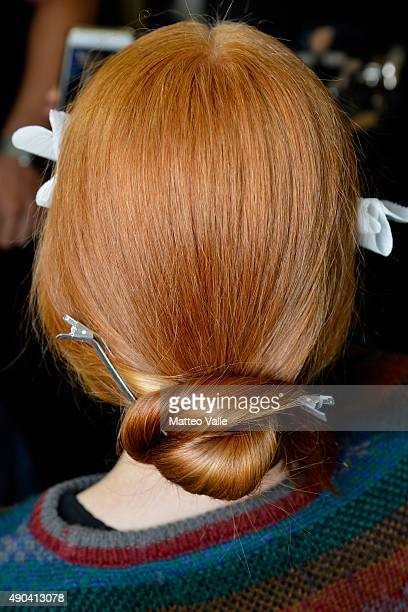 A model is seen backstage detail ahead of the Mila Schon show during Milan Fashion Week Spring/Summer 2016 on September 28 2015 in Milan Italy