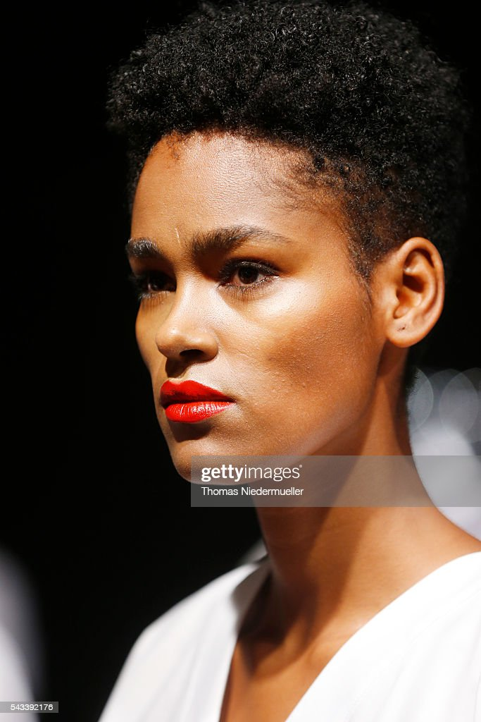 A model is seen backstage during the Avelon show as part of the Mercedes-Benz Fashion Week Berlin Spring/Summer 2017 at Erika Hess Eisstadion on June 28, 2016 in Berlin, Germany.