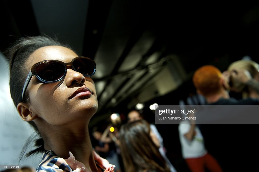 A model is seen backstage during the Cibeles Madrid Fashion Week Spring/Summer 2013 at Ifema on September 2, 2012 in Madrid, Spain.