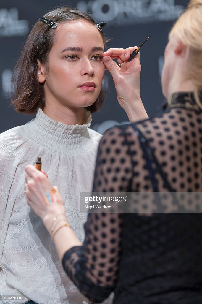 A model is seen backstage during the Fashion Week Oslo Autumn/Winter 2016/2017 at Oslo Opera House on February 10, 2016 in Oslo, Norway.
