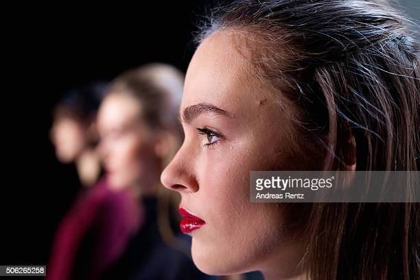 A model is seen backstage during the MercedesBenz Fashion Week Berlin Autumn/Winter 2016 at Brandenburg Gate on January 22 2016 in Berlin Germany