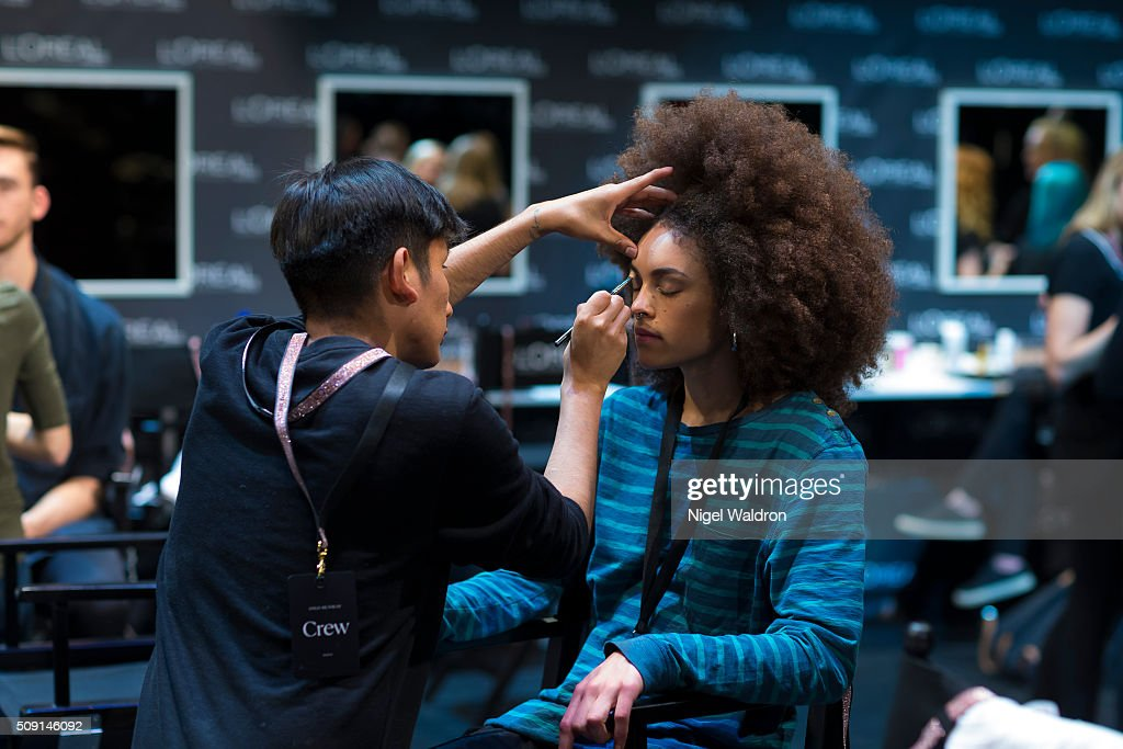 A model is seen backstage during the Oslo Fashion Week Autumn/Winter 2016/2017 at Oslo Opera House on February 09, 2016 in Oslo, Norway.