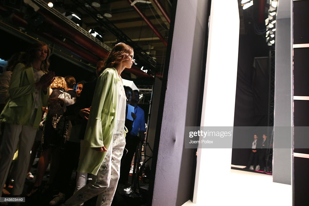 A model is seen backstage ahead of the Sportalm show during the Mercedes-Benz Fashion Week Berlin Spring/Summer 2017 at Erika Hess Eisstadion on June 29, 2016 in Berlin, Germany.