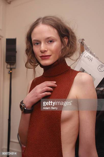 A model is seen backstage prior the Dawid Tomaszewski fashion show intervention A/W 2016/17 as part of Der Berliner Mode Salon during the...