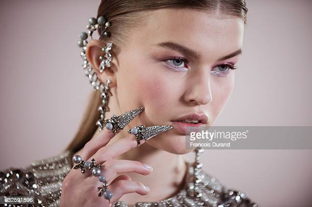 A model is seen Backstage prior the Georges Hobeika Spring Summer 2017 show as part of Paris Fashion Week on January 23 2017 in Paris France