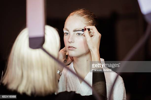 A model is seen Backstage prior the Kenzo Menswear Fall/Winter 20172018 show as part of Paris Fashion Week on January 22 2017 in Paris France