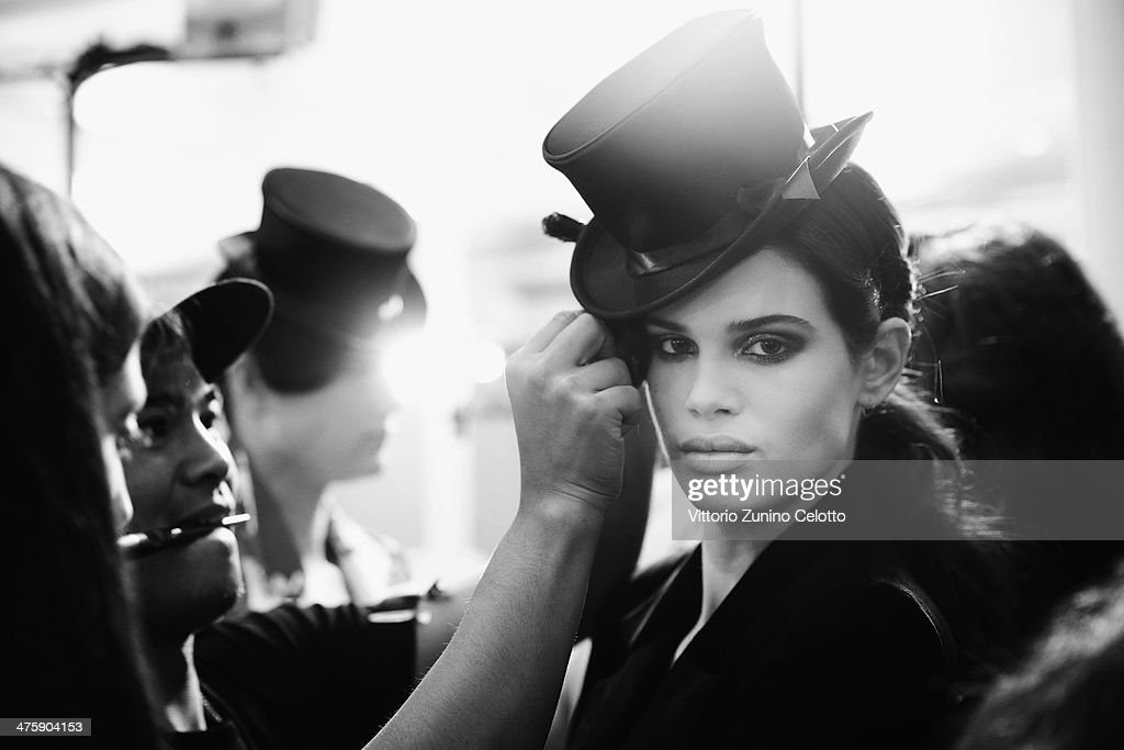 A model is seen backstage prior the Olympia Le Tan show as part of the Paris Fashion Week Womenswear Fall/Winter 2014-2015 at Espace Vendome on March 1, 2014 in Paris, France.
