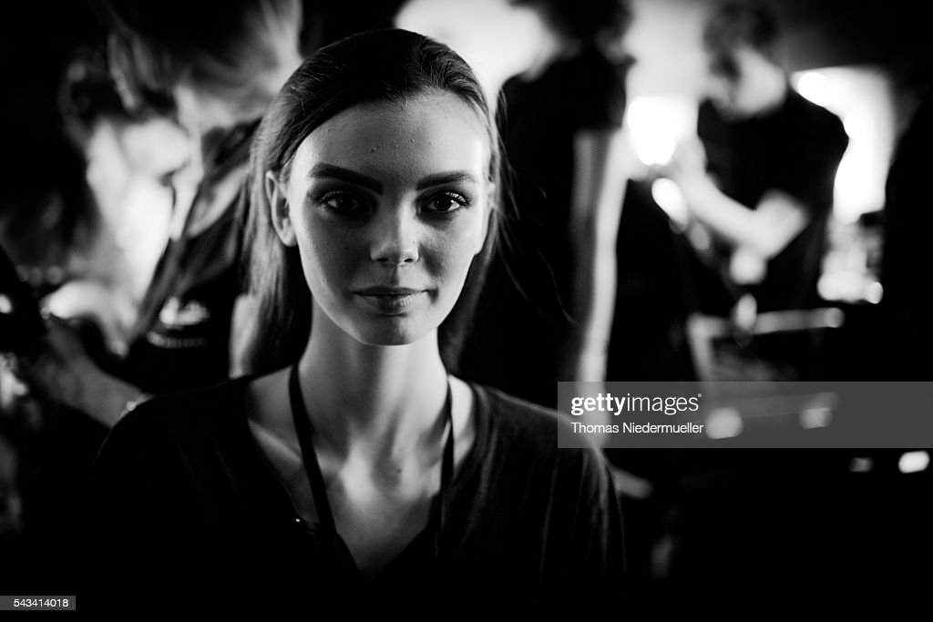 A model is seen backstage prior the Thomas Hanisch show during the Mercedes-Benz Fashion Week Berlin Spring/Summer 2017 at Erika Hess Eisstadion on June 28, 2016 in Berlin, Germany.