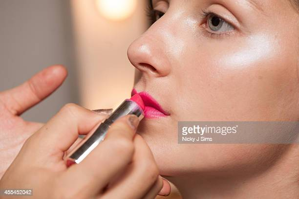 A model is seen backstage prior the Xiao Li show during London Fashion Week Spring Summer 2015 at Fashion Scout Venue on September 14 2014 in London...