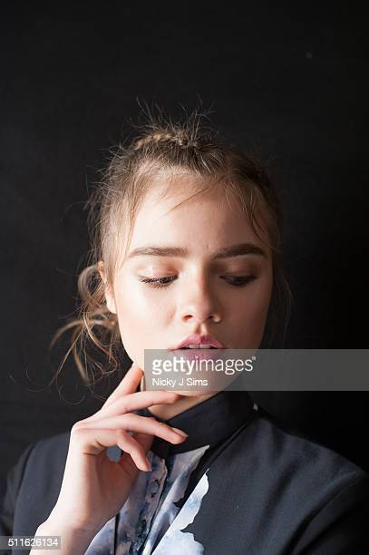 A model is seen backstage prior to the Apu Jan show on day 3 of London Fashion Week Autumn Winter 2016 at Fashion Scout Venue on February 21 2016 in...