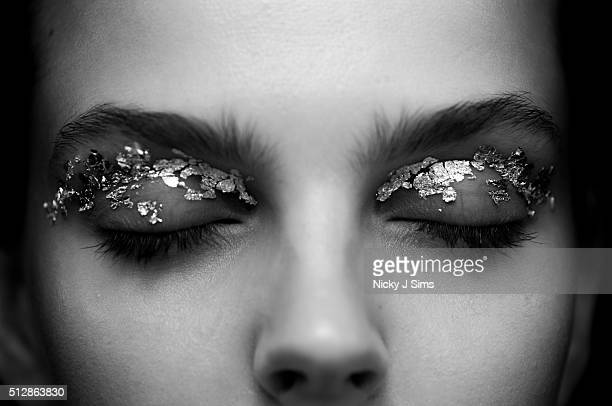 A model is seen backstage prior to the Holly Fulton show on day 2 of London Fashion Week Autumn Winter 2016 at BFC Showspace on February 20 2016 in...
