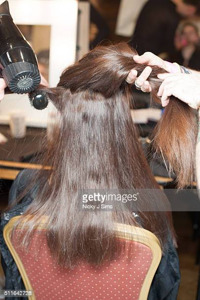 A model is seen backstage prior to the House of Mea show on day 3 of London Fashion Week Autumn Winter 2016 at Fashion Scout Venue on February 21...