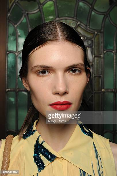 A model is seen backstage prior to the Isabel Garcia show during London Fashion Week Spring Summer 2015 at Fashion Scout Venue on September 16 2014...