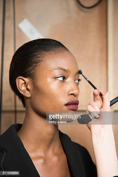 A model is seen backstage prior to the J JS Lee show on day 1 of London Fashion Week Autumn Winter 2016 at BFC Showspace on February 19 2016 in...