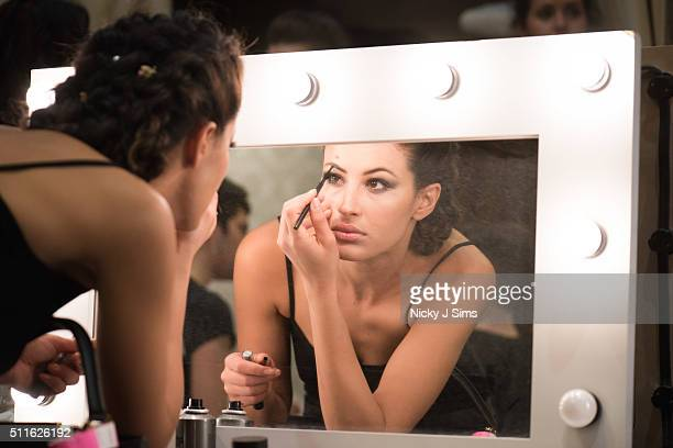 A model is seen backstage prior to the Romhir show on day 3 of London Fashion Week Autumn Winter 2016 at Fashion Scout Venue on February 21 2016 in...