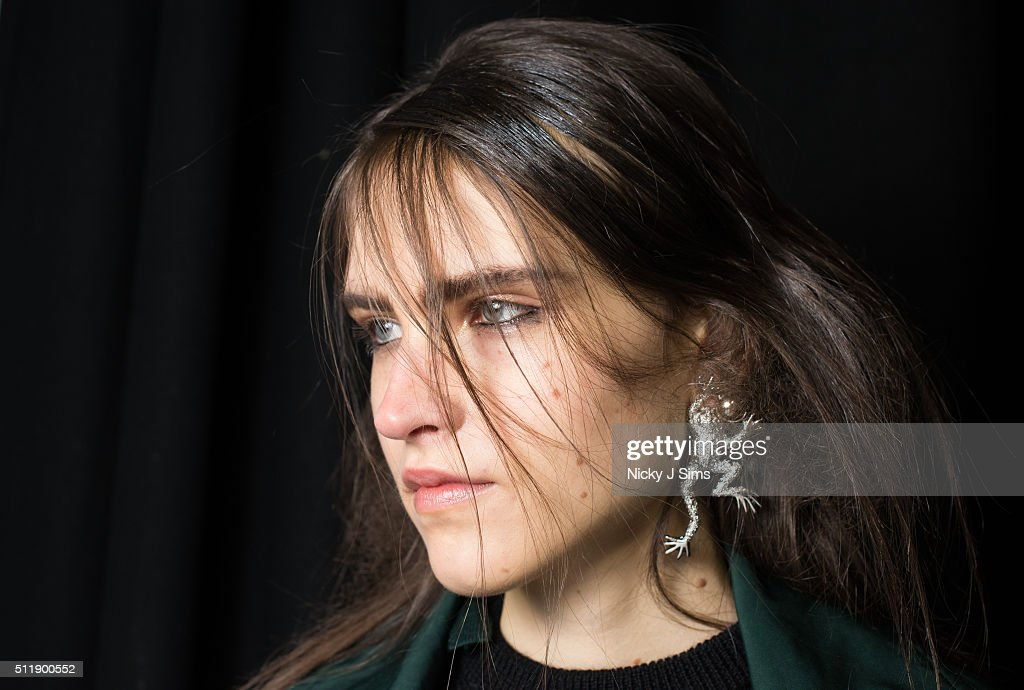 A model is seen backstage prior to the Toga show on day 5 of London Fashion Week Autumn Winter 2016 at BFC Showspace on February 23 2016 in London...