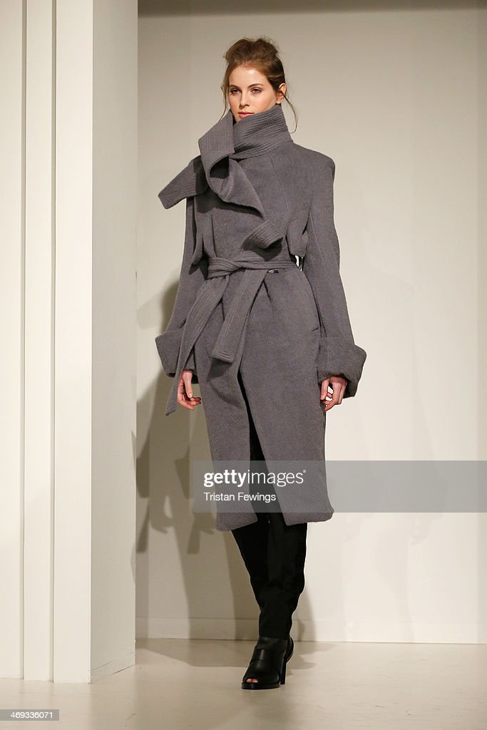 A model is seen during the Haizhen Wang presentation at London Fashion Week AW14 at Somerset House on February 14, 2014 in London, England.