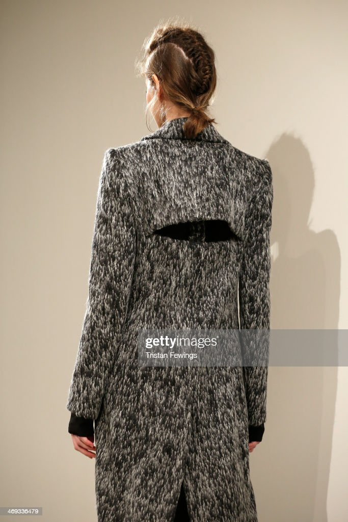 A model is seen during the Haizhen Wang presentation at London Fashion Week AW14 at Somerset House on February 14 2014 in London England