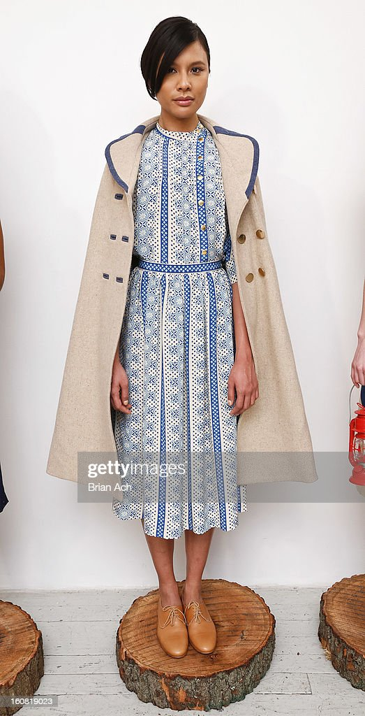 A model is seen during the Lauren Moffatt fall 2013 presentation during Mercedes-Benz Fashion Week on February 6, 2013 in New York City.