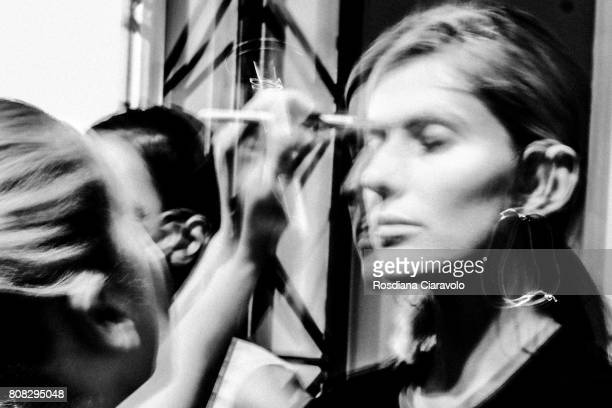 A model is seen during the MercedesBenz Fashion Week Berlin Spring/Summer 2018 at Kaufhaus Jandorf on July 4 2017 in Berlin Germany