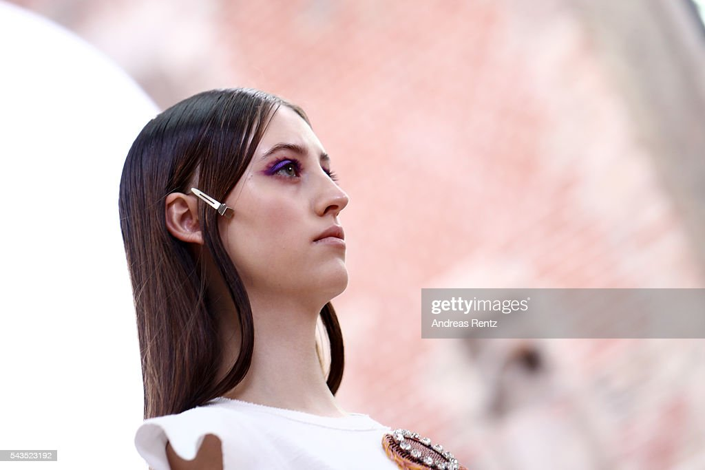 A model is seen during the rehearsal ahead of the Dorothee Schumacher show during the Mercedes-Benz Fashion Week Berlin Spring/Summer 2017 at Elisabethkirche on June 29, 2016 in Berlin, Germany.