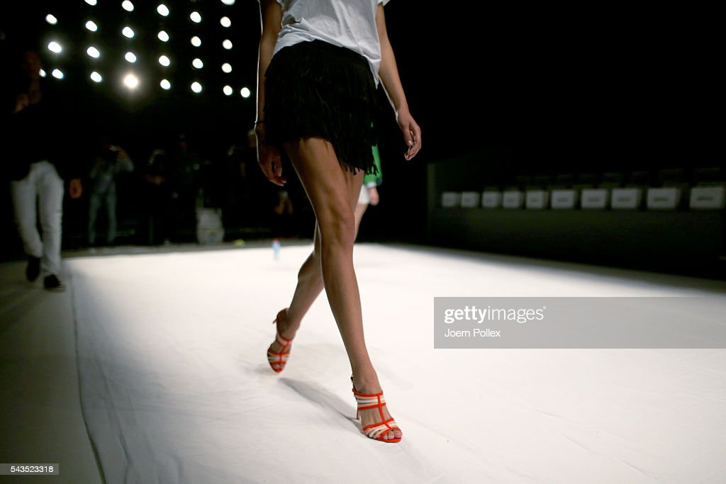 A model (shoe detail) is seen backstage ahead of the Sportalm show during the Mercedes-Benz Fashion Week Berlin Spring/Summer 2017 at Erika Hess Eisstadion on June 29, 2016 in Berlin, Germany.