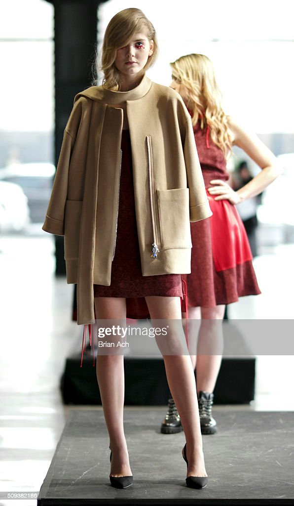 A model is seen during the Vivi Academy presentation during Fall 2016 New York Fashion Week on February 10, 2016 in New York City.