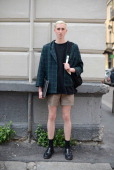A model is seen in a vintage outfit on June 21 2014 in Milan Italy