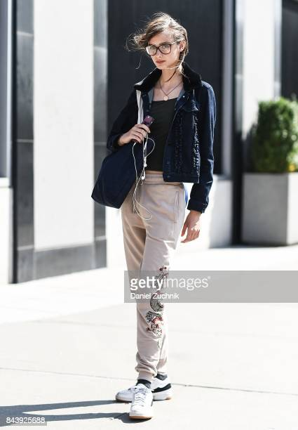 A model is seen outside the Noon by Noor show during New York Fashion Week Women's S/S 2018 at Skylight Clarkson Sq on September 7 2017 in New York...