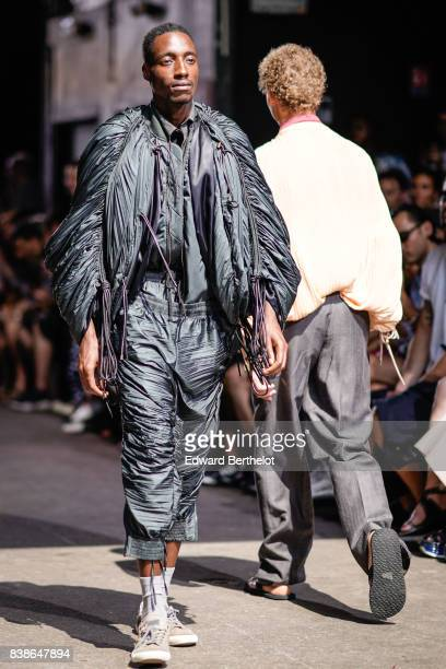 A model is seen outside the Y/Project show during Paris Fashion Week Menswear Spring/Summer 2018 on June 21 2017 in Paris France