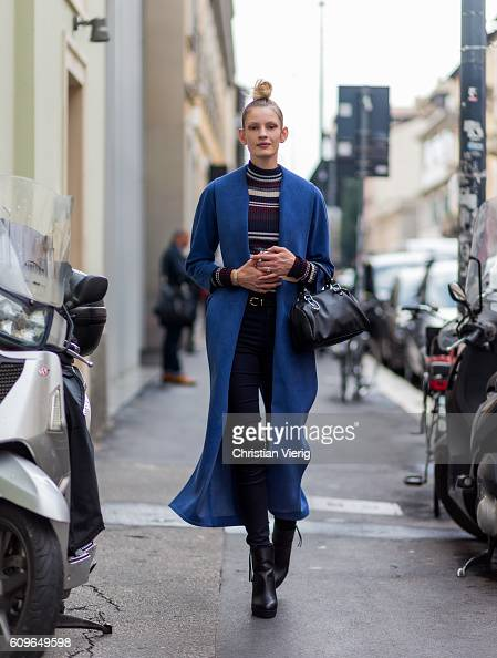 A model is seen outside Wunderkind during Milan Fashion Week Spring/Summer 2017 on September 21 2016 in Milan Italy