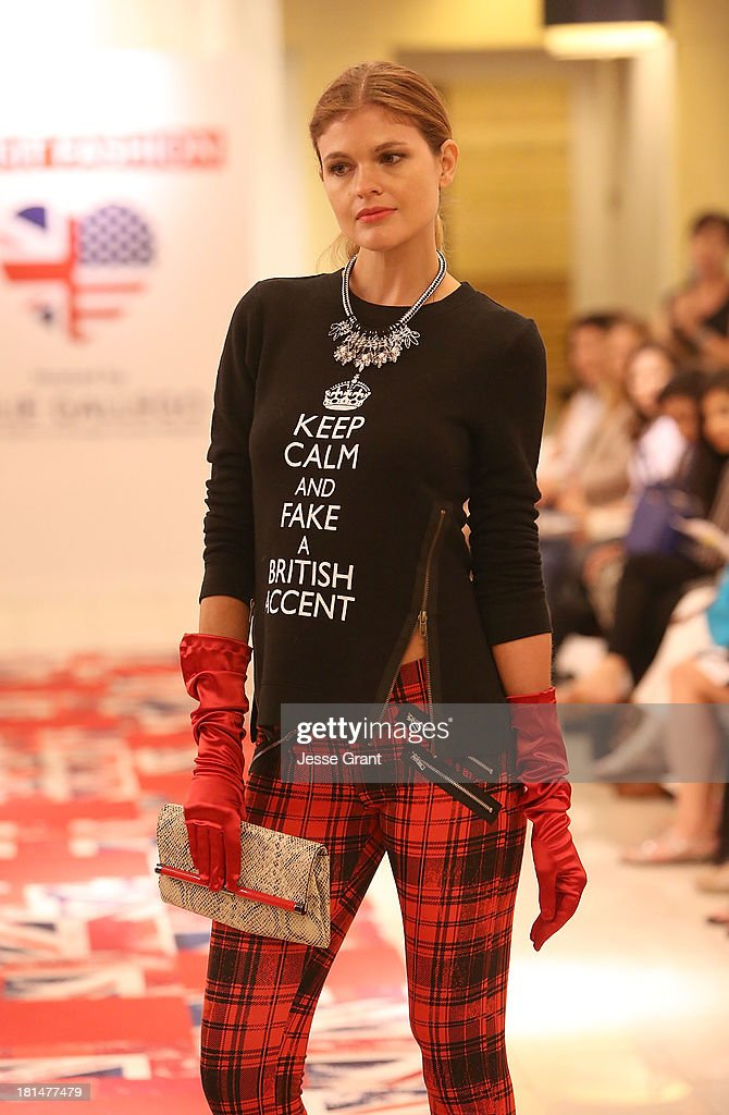 A model is seen walking the runway during the Brit-It-Fashion show at Bloomingdale's South Coast Plaza on September 21, 2013 in Costa Mesa, California.