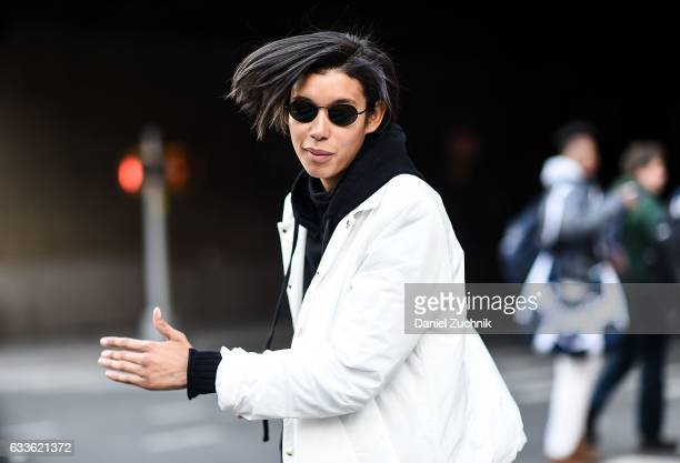 A model is seen wearing a white coat and black sweater outside of the STAMPD show during New York Fashion Week Men's AW17 on February 2 2017 in New...