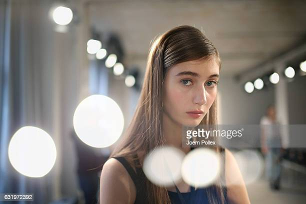 A model is seen while rehearsing for the Maisonnoee show during the MercedesBenz Fashion Week Berlin A/W 2017 at Kaufhaus Jandorf on January 18 2017...