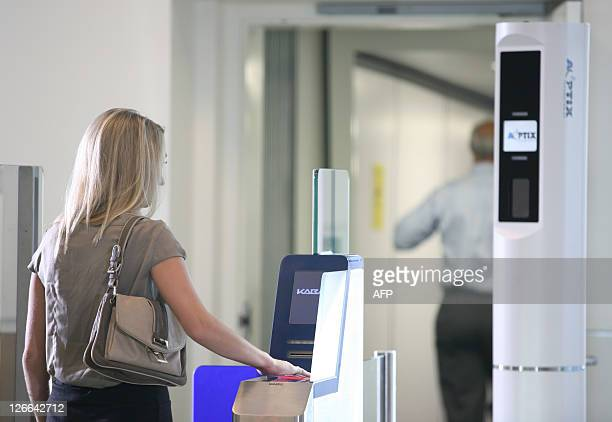 A model is used to test AOptix's brand new screening technology atadistance iris and facial recognition systems at a part of the Mineta San Jose...