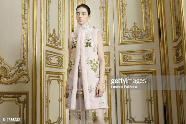 Model Isabella Ridolfi poses Backstage prior the Giambattista Valli Spring Summer 2017 show as part of Paris Fashion Week on January 23 2017 in Paris...