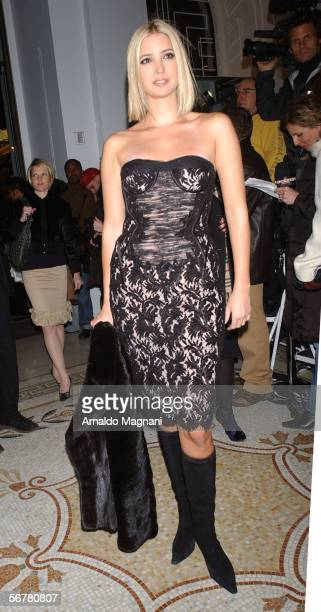 Model Ivanka Trump attends the Versace store reopening party at the Versace Fifth Avenue Boutique during Olympus Fashion Week February 7 2006 in New...