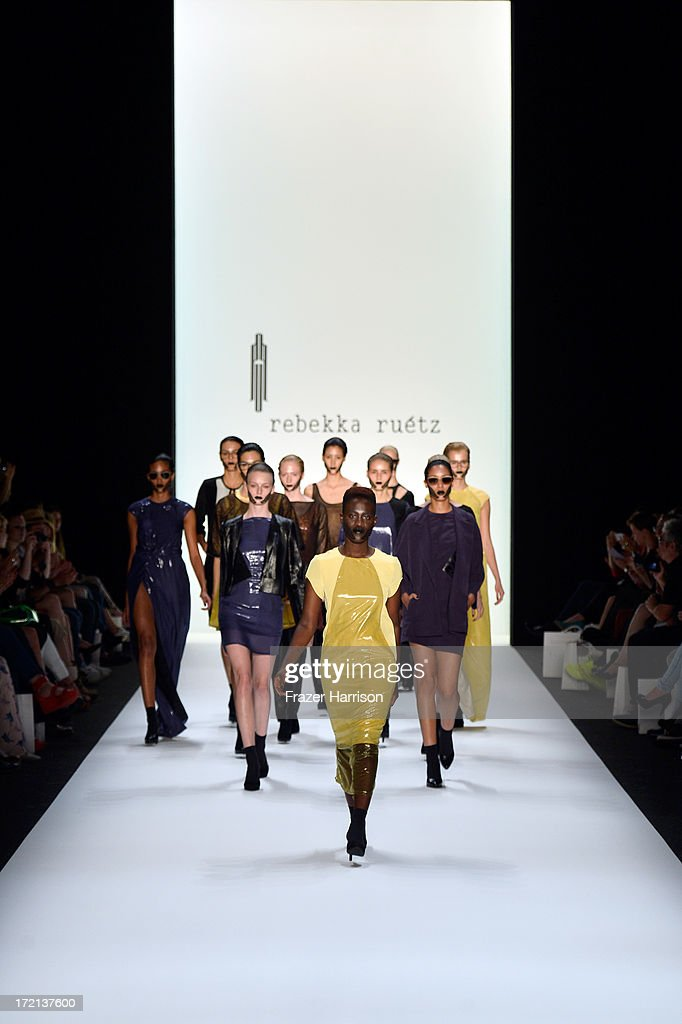 Model Ivy Quainoo walks the runway at the Rebekka Ruetz show during Mercedes-Benz Fashion Week Spring/Summer 2014 at Brandenburg Gate on July 2, 2013 in Berlin, Germany.