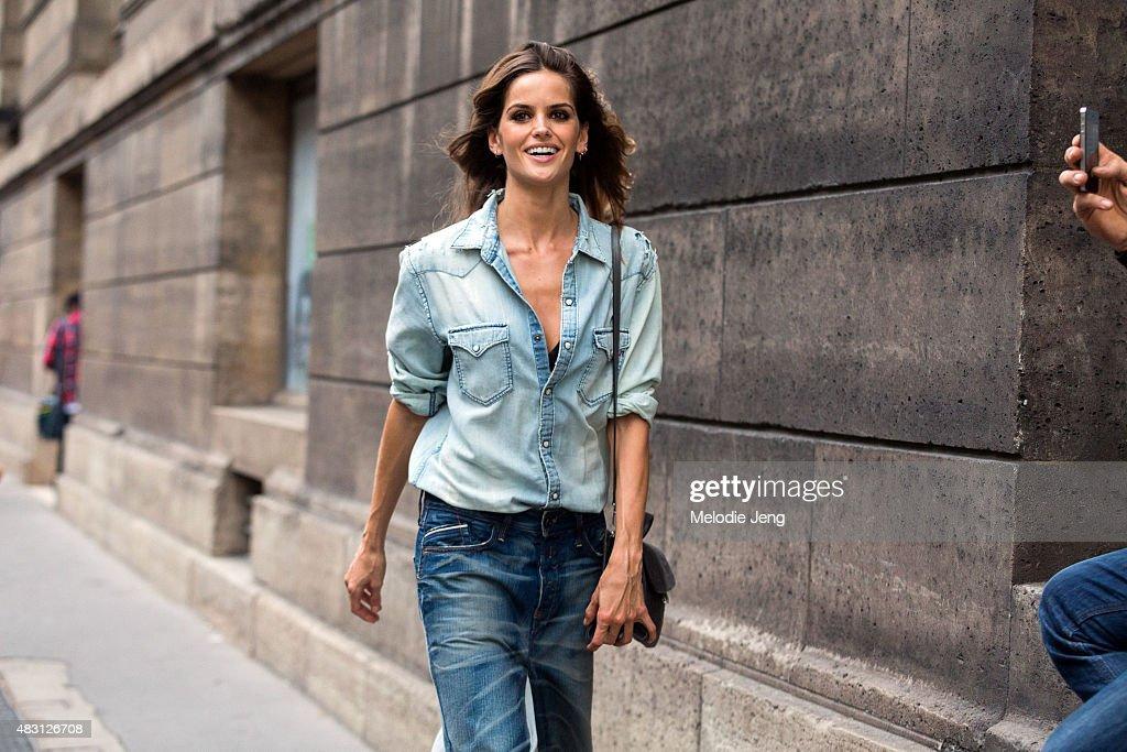 Model Izabel Goulart exits the Alexandre Vauthier show at Les Arts Decoratifs on July 7 2015 in Paris France