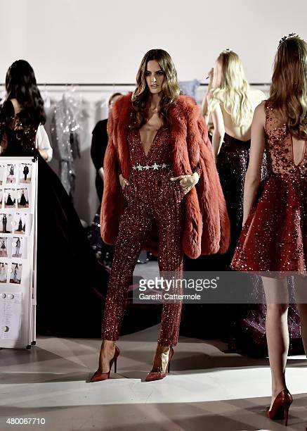 Model Izabel Goulart is photographed backstage before the Zuhair Murad show as part of Paris Fashion Week Haute Couture Fall/Winter 2015/2016 at...