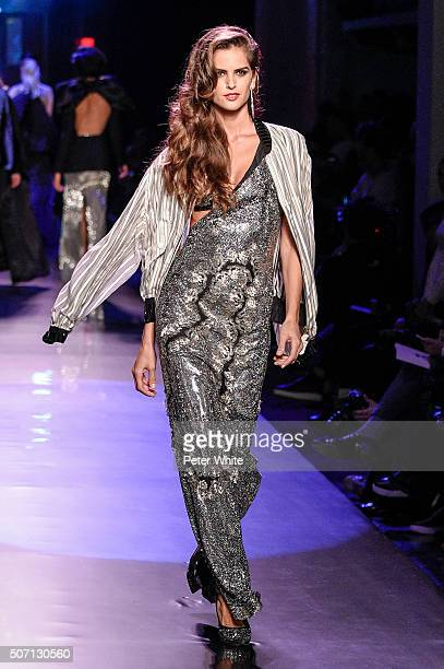 Model Izabel Goulart walks the runway during the Jean Paul Gaultier Spring Summer 2016 show as part of Paris Fashion Week on January 27 2016 in Paris...