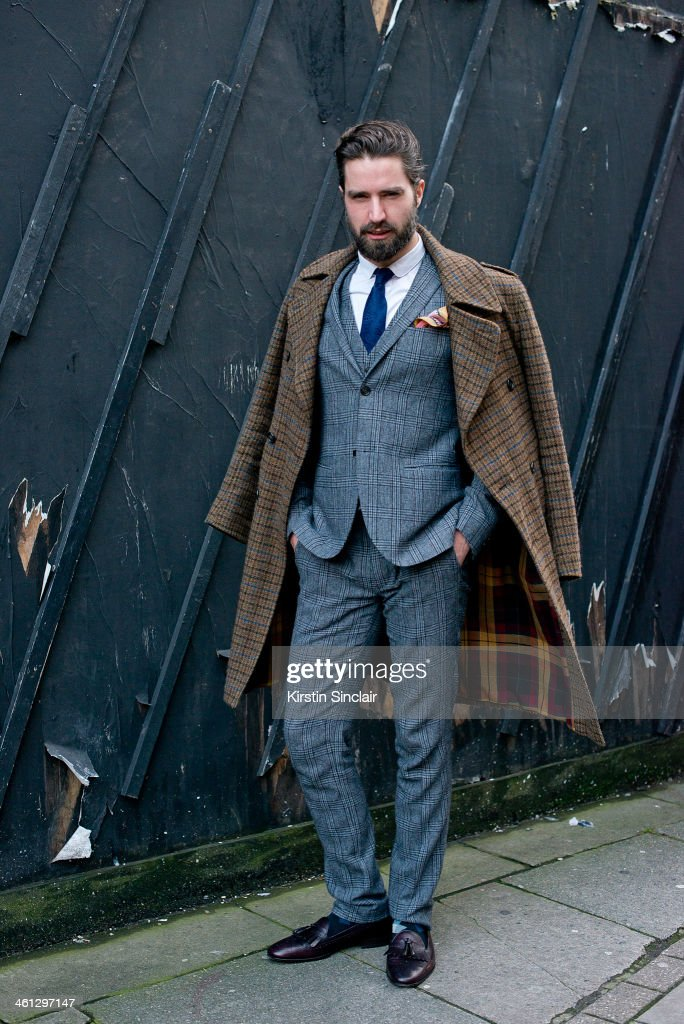 Model Jack Guiness wears a Top Man suit Lee Man Paris hoes Paul Smith socks Aquascutum tie DS Dundee Jacket and a Silk and Favours Pocket Square day...