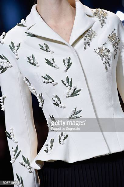A model jacket detail walks the runway during the Christian Dior Spring Summer 2016 show as part of Paris Fashion Week on January 25 2016 in Paris...