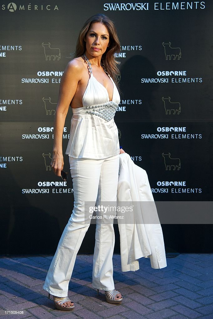 Model Jacqueline de la Vega attends Swarovski-Osborne Bull illumination at the Casa America on June 25, 2013 in Madrid, Spain.