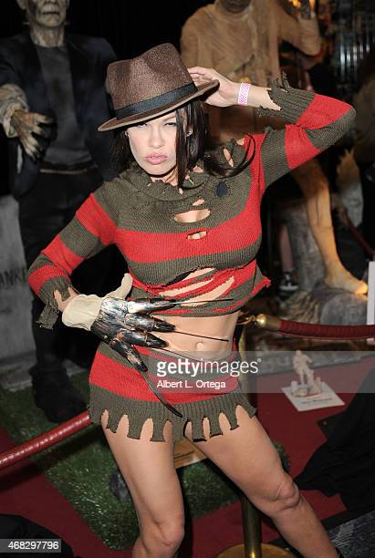Model Jaded Dawn dressed as Freddy Krueger from 'A Nightmare On Elm Street' at the 2015 Monsterpalooza Horror Convention held at the Marriott Hotel...