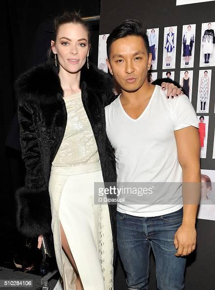 Model Jaime King and designer Prabal Gurung pose backstage at the Prabal Gurung Fall 2016 fashion show during New York Fashion Week The Shows at The...